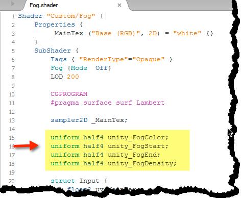 Unity Fog Parameter